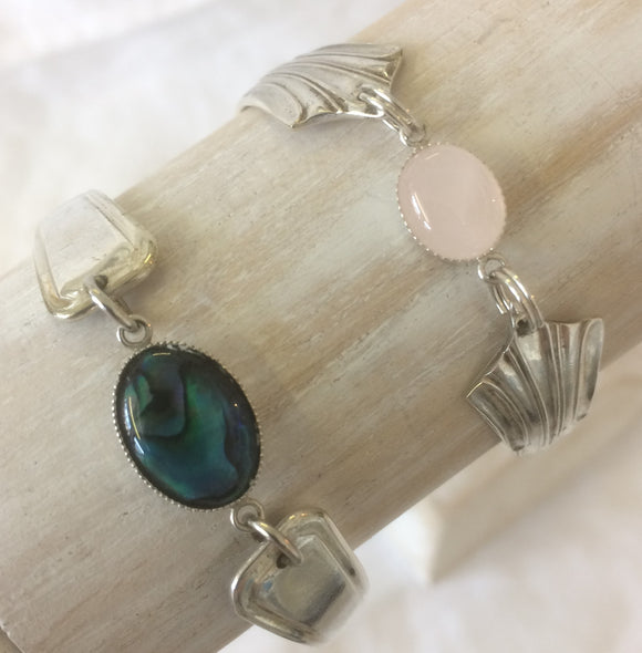 Silver plated cutlery bracelets with semi precious stone.