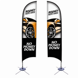 13' Razor Sail Sign Kit Double-Sided with Scissor Base