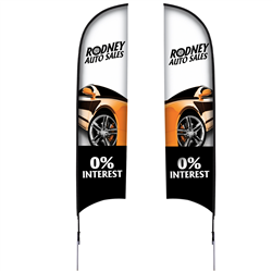13' Razor Sail Sign Kit Double-Sided with Spike Base
