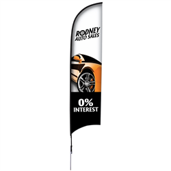 13' Razor Sail Sign Kit Single-Sided with Spike Base