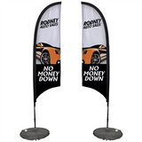 7' Razor Sail Sign Kit Double-Sided with Scissor Base