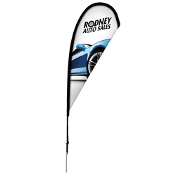 8' Tear Drop Sail Sign Kit Single-Sided with Spike Base