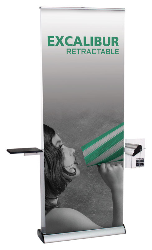 Excalibur 2/Sided Retractable With Shelf & Literature Holder