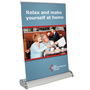 "Small Mini Promo Retractor Table Top Retractor with Graphics (11""w x 17""h)"