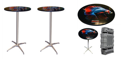 Set of Two Custom Round Trade Show Tables with Case