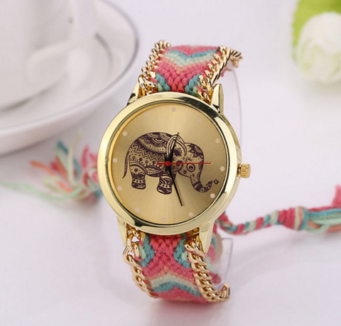 Elephant dial braided watch