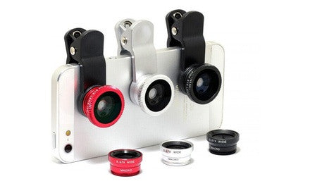 Smartphone Set of 3 Clip-On Lenses - Zoom, Wide-Angle and FishEye