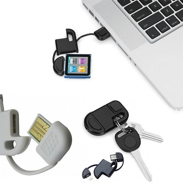 2-in-1 Keychain Data Cable For iPad iPod iPhone 5 4 4s