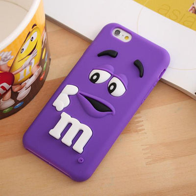 Cartoon M&M Chocolate Candy Rubber Phone Case For iPhone 6/6 plus/7/7 plus
