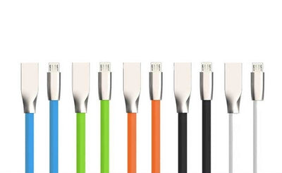Stylish design Zinc Alloy Joints Flat MicroUSB Cable