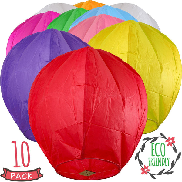 Colorful Rice Paper Sky Lanterns - Pack Of 10