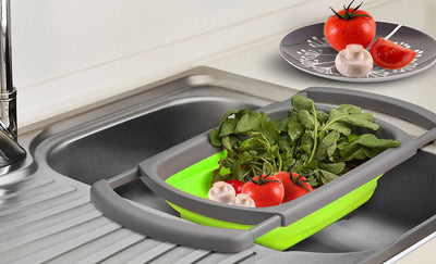 Collapsible over-the-sink colander - vegetable drainer
