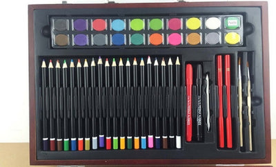 Art Supplies Set with Vintage Wooden Case (96-Piece)