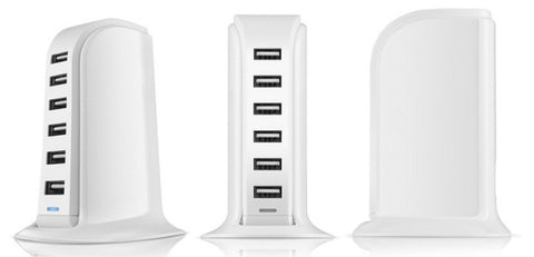 40W or 60W ETL-Certified 6-Port USB Smart Charger