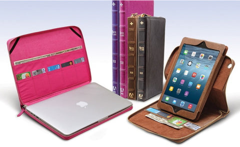 BookCase Folio and Stand Case for iPads or MacBooks