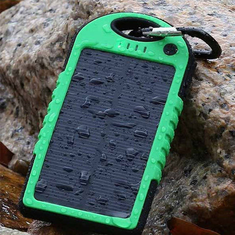 Dual Solar Phone Charger And Electric Power Bank Water Resistant 5000 mAh