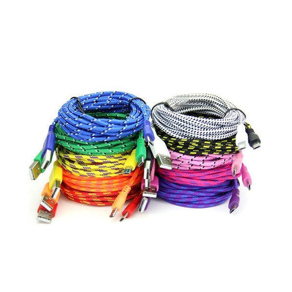 Extra Long (10 Ft) Fiber Cloth Braided Sync & Charge USB Android Cable