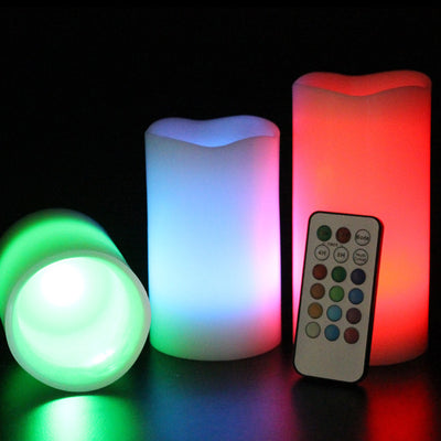 Fireless Vanilla Scented LED Candles with Remote (Set of 3 )