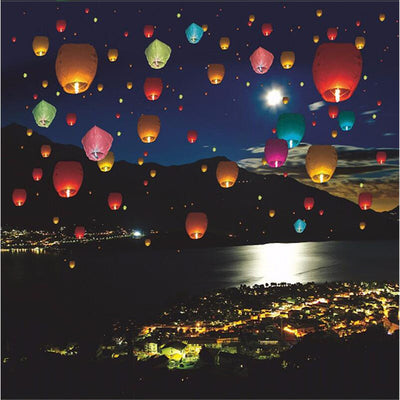 10-Pack Eco-friendly Chinese Sky Lanterns - Holiday Decorations