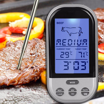 Digital Wireless Remote Kitchen Oven/ BBQ Grill Smoking Meat Thermometer With probe and timer, temperature indicator & alarm