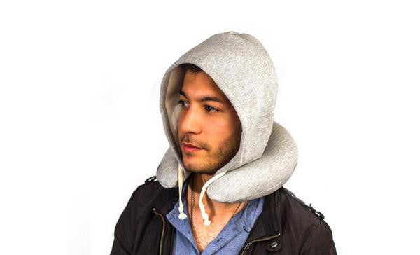 Inflatable Hoodie Travel Neck Pillow Cap - Grey