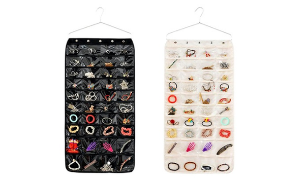 80-Pocket Double-Sided Hanging Jewelry Organizer