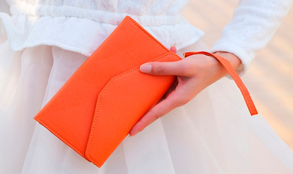 Women's Textured Envelope Clutch Purse