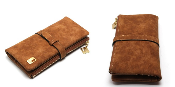 Women's Nubuck Zipper Wallet