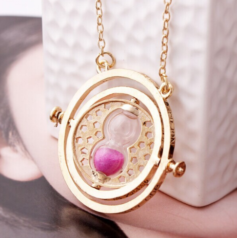 Spinning Time Turner Necklace With Real Sand
