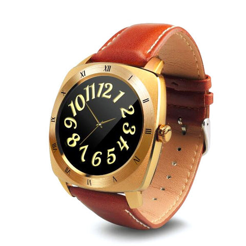 Luxurious Smart Watch With Classy Leather Straps & Touch Screen. Fitness Tracker