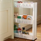 Slide in kitchen shelf space saving corner shelf with wheels
