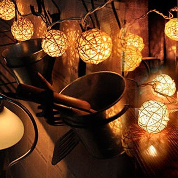 20 LED Warm Glow Hand Made Rattan Ball String Lights