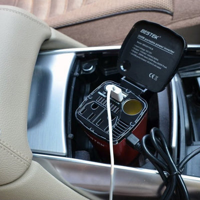 Car Charger and Power Inverter With 2 USB & 2 AC ports