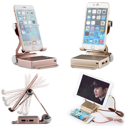 Folding Tablet And Phone Stand with Built-In Power Bank