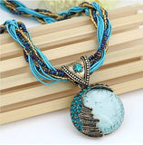 Bohemian Necklace With Gemstone Pendant And Multi-Layer Beaded Chain