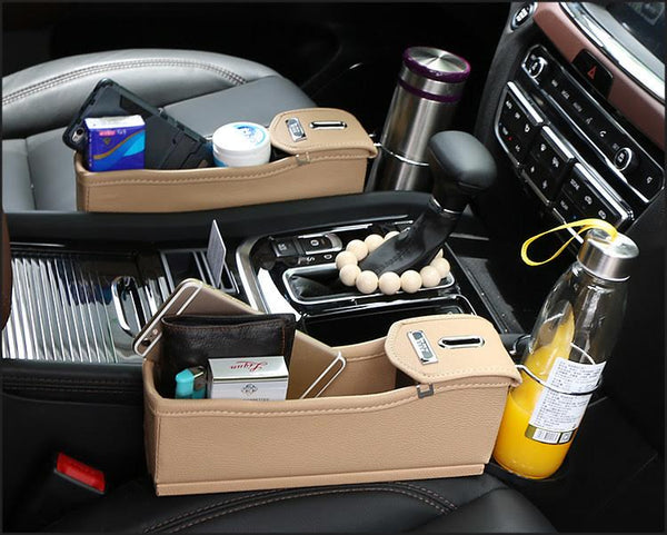 Car Seat Gap Leather Storage Box Coin Catcher Organizer
