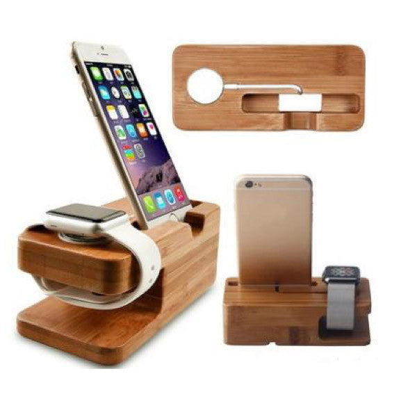 Bamboo iPhone dock apple watch charging dock