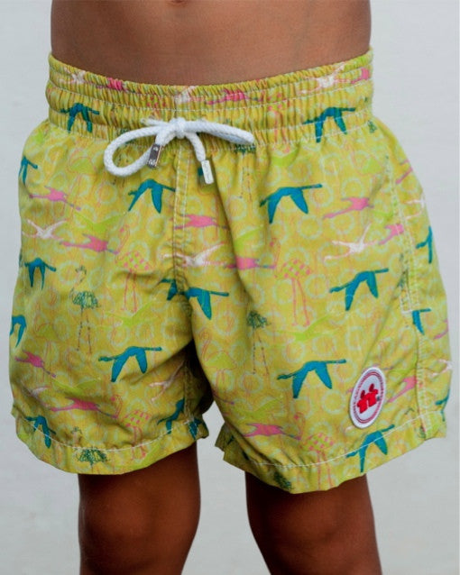 Birds of A Feather Swim Trunks (Boys) : Lime