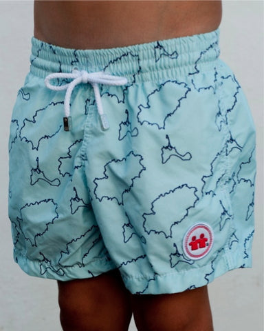 Island Lines Swim Trunks (Boys) : Sky Blue