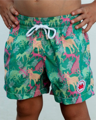 Party Dogs Swim Trunks (Boys) : Green