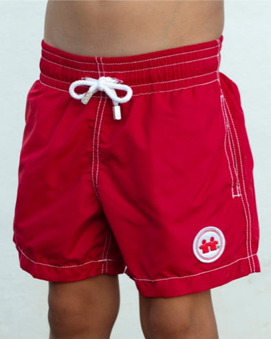 Solid Rock Swim Trunks (Boys) : Red