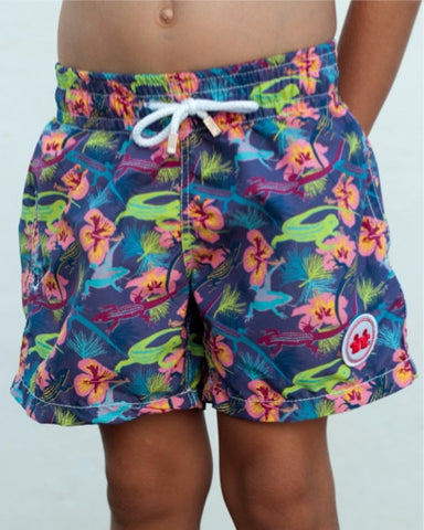 Wild Life Swim Trunks (Boys) : Purple