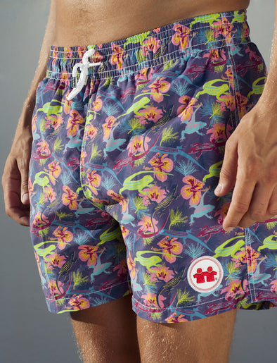 Wild Life Swim Trunks (Mens) : Purple