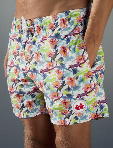 Wild Life Swim Trunks (Mens) : White