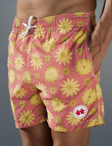 Fishy Flowers Swim Trunks (Mens) : Salmon