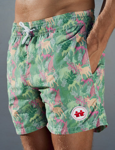 Party Dogs Swim Trunks (Mens) : Green