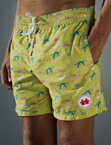 Birds of A Feather Swim Trunks (Mens) : Lime