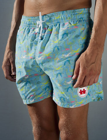 Birds of A Feather Swim Trunks (Mens) : Aqua