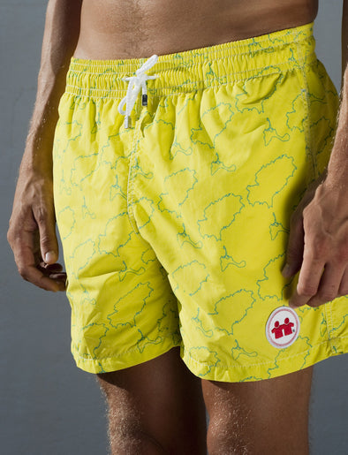 Island Lines Swim Trunks (Mens) : Citron