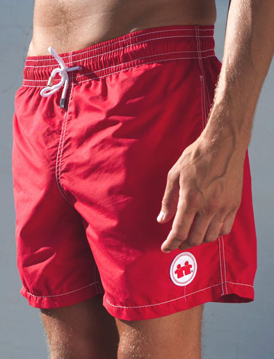 Solid Rock Swim Trunks (Mens) : Red